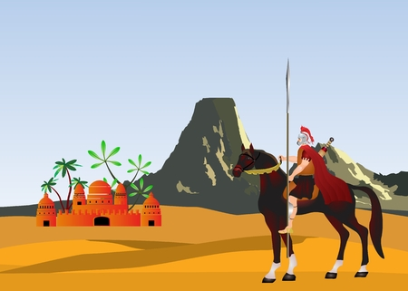 worse: Warrior on worse of ancient greece in desert and mountain and temple on background