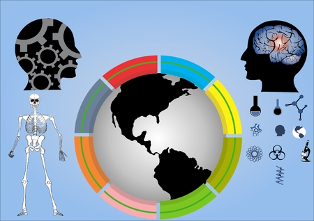 sceleton: Ecology conceptual illustration. Globe and two black human heads, brain and science symbols