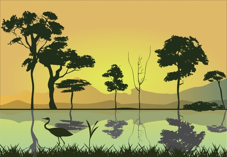 reflected: Evening on the river, trees and coastside reflected on water of river, silhouettes of trees