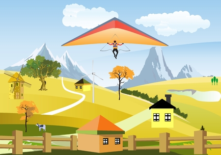 mountain view: Countryside view, mountain, hills, sky on background, houses, clouds, nature