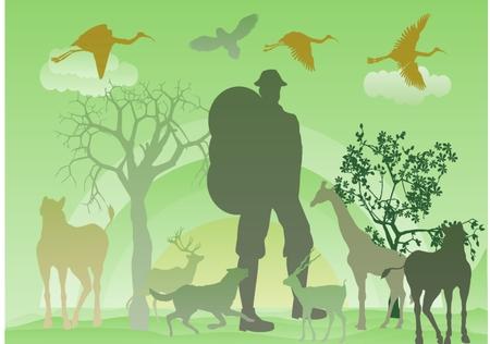 domestic animals: Man, domestic animals silhouettes, tree silhouette, green baxkground, conseptual image