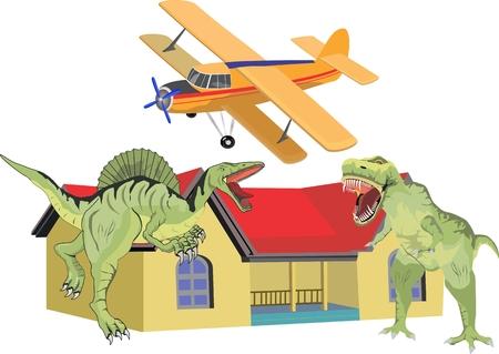 dinosaurus: Dinosaurus house and plane isolated on white image