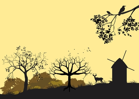 mills: Countryside silhouettes, mills, trees, tree branch on pale yellow background