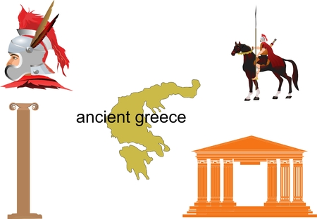horse warrior: Ancient greece elements set. Warriors head, warrior on horse, temple, greece map