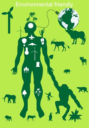 primate biology: Environmental protection and frienly, conceptual vector illustration. Ecologe, envirnment, green, wildlife.