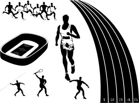 sportsmen: Black white colored conceptual vector illustration of sport industry. Stadion, running. Sportsmen.