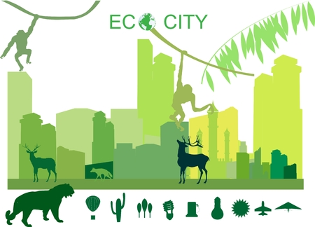 gree: Green city of the future, conceptual vector illustration. City, gree, eco, ecology, environment, protection, friendly, animals. Illustration