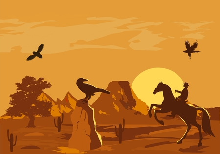 cartoon eagle: illustration of prairie wild west with cacti and hero of the wild West