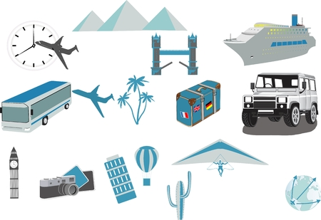 Travel icons symbol collection.