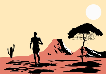wild prairie: cartoon illustration of red prairie with runner of the wild moutauns in sunset. Illustration