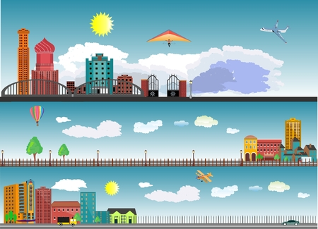 locality: Horizontal panaromic illustration of different types of cities and rural locality on blue sky background