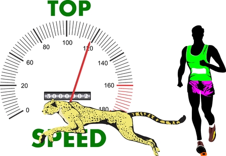 hindrance: Man and cheetah running. Concept illustration of speed