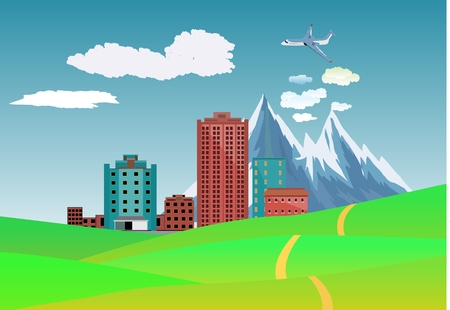 green hills: Countryside view vector illustration, green hills, mountains, 3d buildings, bly sky on background