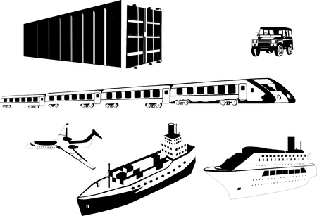 water carrier: Ship, Marine transport containers, train, plane, car. Isolated on white vector illustration. Illustration