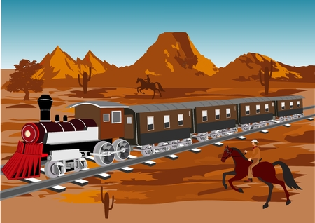 Wild west vector illustration. Train in prairie, cowboy on horse, blue sky Çizim