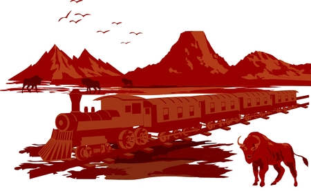 prairie: Wildwest illustration in red colors isolated on white. Train and bison on prairie