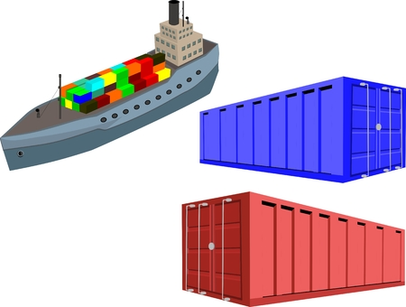 bulk carrier: Ship and Marine transport containers. Isolated on white vector illustration Illustration