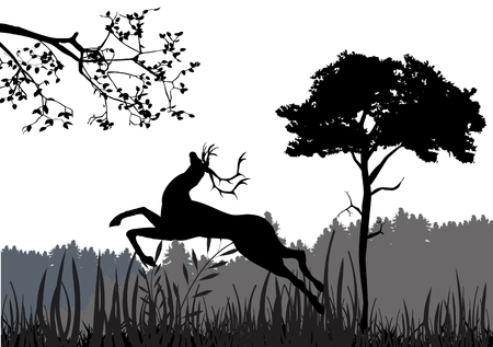 Jumping dear vector silhouette illustration. Natural landscape vector silhouette in background.