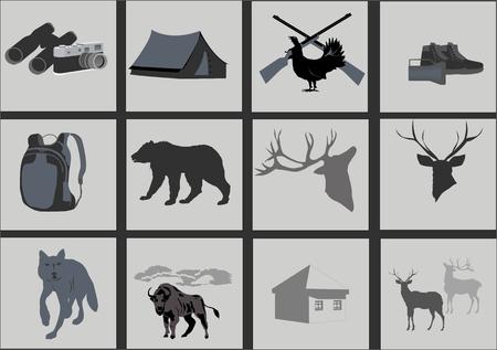 wildlife shooting: Hunting icons set