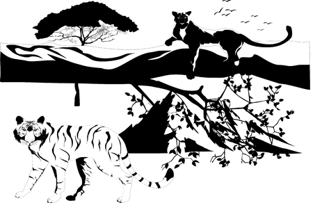 Black panther on tree trunk and tiger. vector illustration Illustration