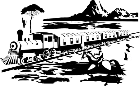 prairie: Wildwest illustration. Train on prairie, cowboy and vector landscape.