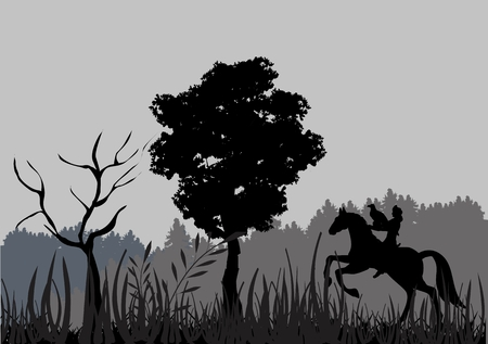 kazakh: Silhouette of Kazakh rider hunting with eagle.