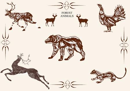 mantel: Vector wild animals set, bear, deer, mantel