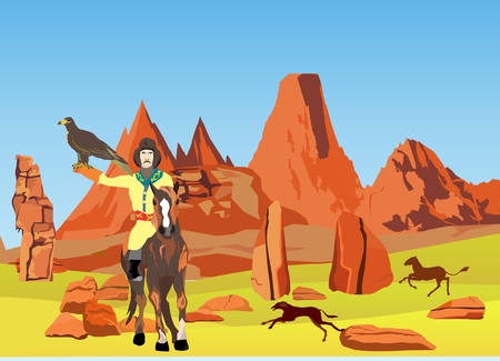 kazakh: Kazakh rider hunter with eagle in rocky desert. Vector illustration