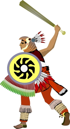 The ancient aztec warrior illustration isolated.