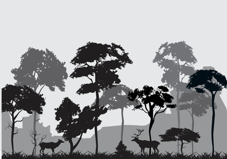 foreground: Silhouettes of forest in backround with trees, and deers in foreground, monochrom colors. Illustration
