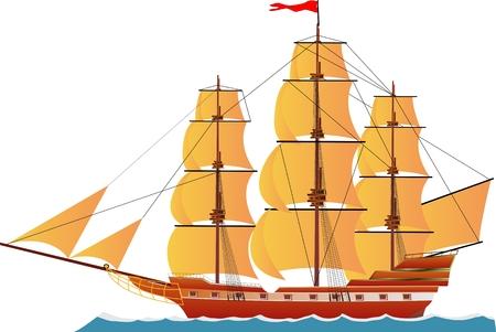 Statek wypłynął na fali wody, na białym tle ilustracji wektorowych