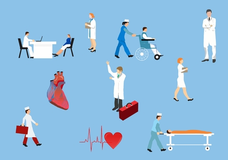 researcher: Medical conceptual vector illustration, set of doctors and medical personal in actions