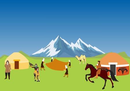 카자흐스탄 AUL, 유목민이 거주하는 유목민의 카자흐, 카자흐스탄의 마을에서의 생활. 일러스트