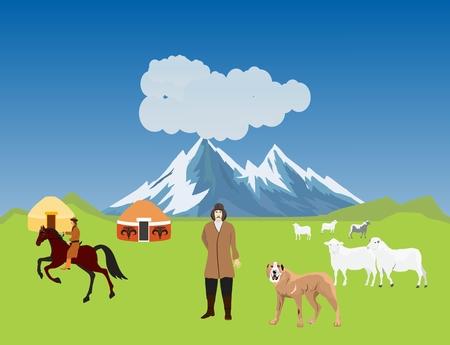 Kazakh aul, jurts, sheeps, dogs. Typical Kazakhstan countryside, vector illustration.