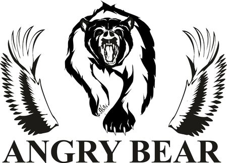 angry bear: Angry Bear and wings Illustration