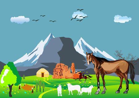 Kazakh aul, jurts, sheeps, mountains. Kazakhstan countryside Illustration