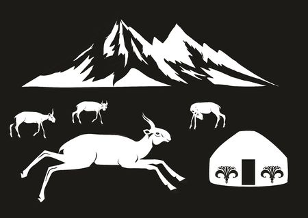 nomad: Saiga antelopes and jurts, illustration on black background