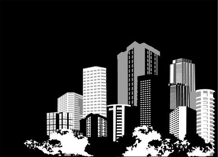 midtown: conceptual illustration.City buildings on black background.