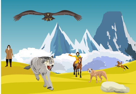 Hunting with eagle for wolves