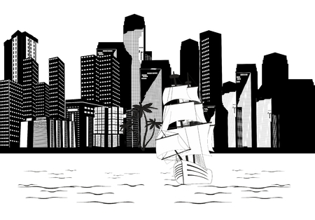 monochromic: City buildings on river coast, and sailed ship, monochromic vector illustration