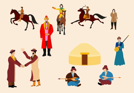 nomad: Kazakh people in natrional ethnic dress, vector icons set Illustration