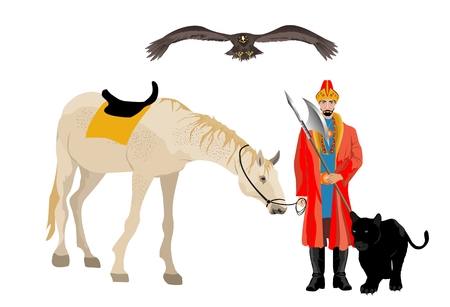 Kazakh man in ethnical dress with horse and hunting panther