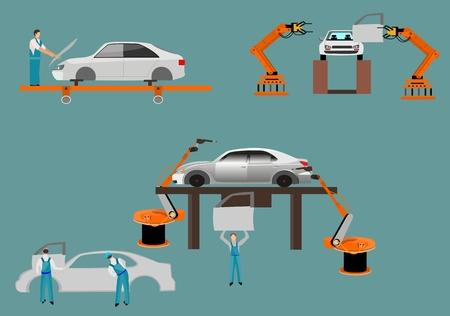 machine operator: Flat design scenes presents workers in autoplant vector illustration.
