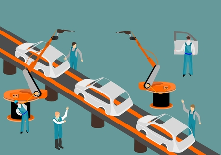 Scenes presents workers in autoplant vector illustration.