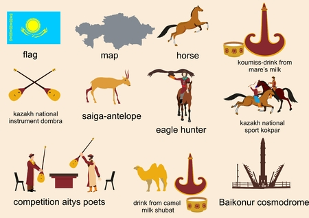 running camel: Kazakhstan country representative theme vector icons set Illustration