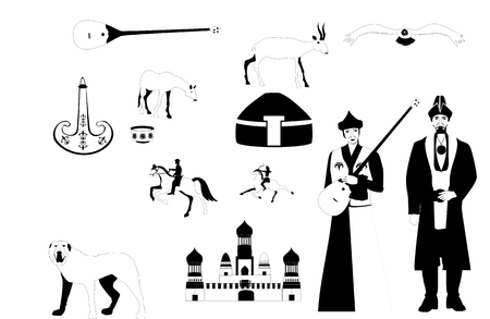 nomad: Kazahkstan ethnic theme vector icons set, monochrome illustration