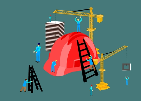 Concept arhitectural illustration. Scene of The process of building a house. Workers, helmet and technic