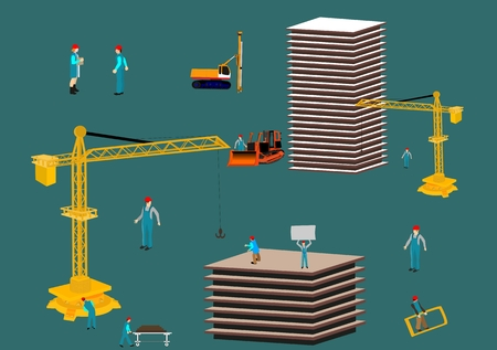 Concept arhitect illustration. The process of building a house. Workers and technic Vettoriali