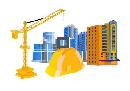 Concept arhitect illustration. Construction helmet, building, building crane