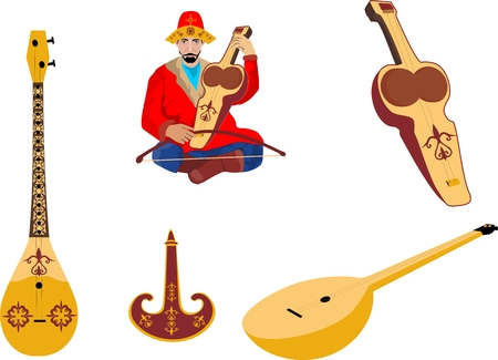 kazakh: Kazakh traditional folk musiacal instruments icons set Illustration